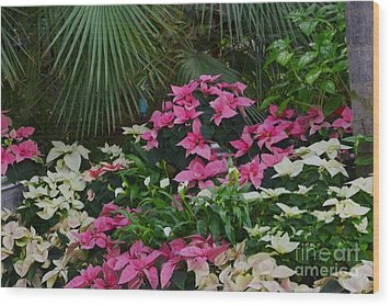 Palm Trees And Flowers Wood Print by Kathleen Struckle
