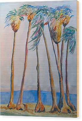 Palm Trees Wood Print by Esther Newman-Cohen