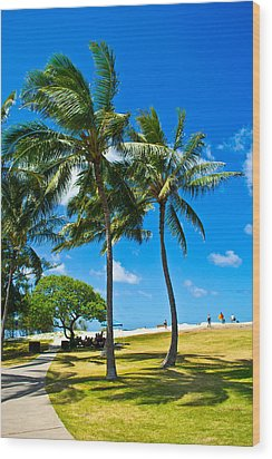 Palm Trees In The Park Wood Print by Matt Radcliffe