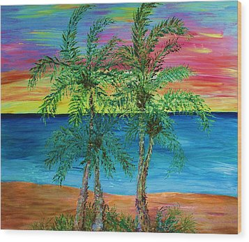 Palm Trees Wood Print by Janet Immordino
