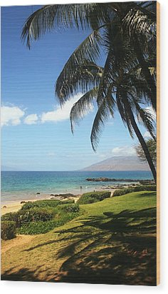 Palm Trees On A Maui Beach Wood Print