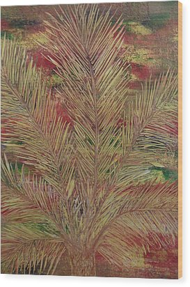 Wood Print featuring the painting Palme by Nico Bielow