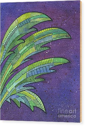 Palms Against The Night Sky Wood Print by Diane Thornton