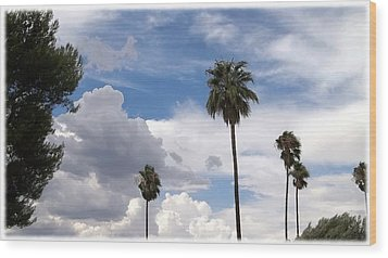 Palms And Clouds Wood Print by Glenn McCarthy Art and Photography