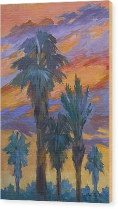 Palms And Sunset Wood Print by Diane McClary