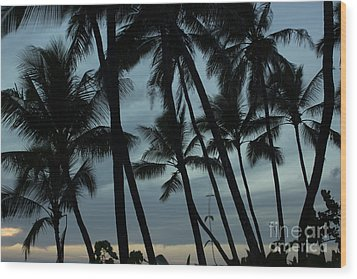 Palms At Dusk Wood Print by Suzanne Luft