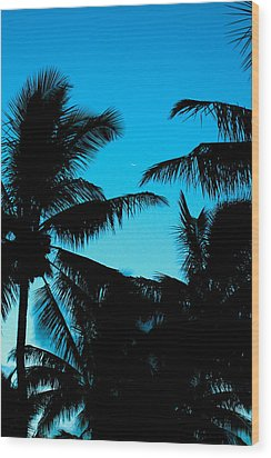 Palms At Dusk With Sliver Of Moon Wood Print by Lehua Pekelo-Stearns