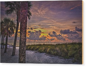 Palms Down To The Beach Wood Print by Marvin Spates