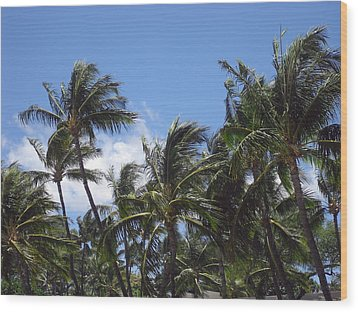 Palms In The Wind Wood Print