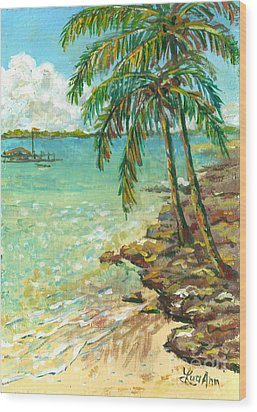 Palms On Point Of Rocks Wood Print