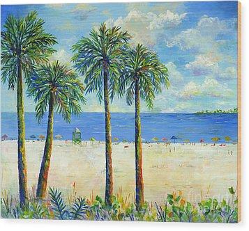 Palms On Siesta Key Beach Wood Print by Lou Ann Bagnall