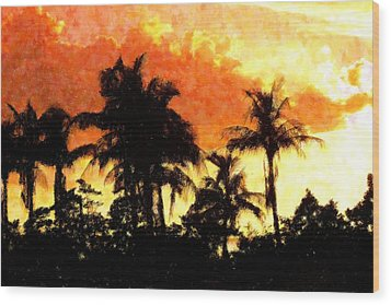 Palms See Red Wood Print by Florene Welebny