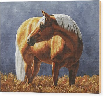 Palomino Horse - Gold Horse Meadow Wood Print by Crista Forest