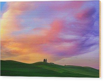 Palouse Cirrus Rainbow Wood Print by Ryan Manuel