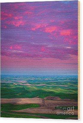 Palouse Fiery Dawn Wood Print by Inge Johnsson