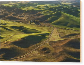 Palouse Homestead Wood Print by Ryan Manuel