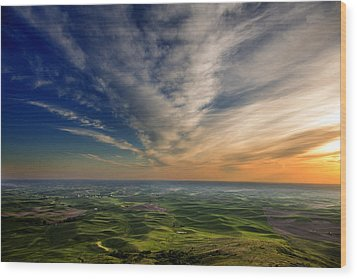Palouse Sunset Wood Print by Mary Jo Allen