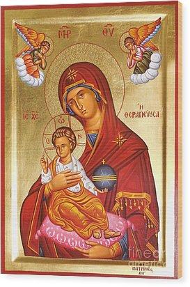 Panagia - Virgin Mary Wood Print by Theodoros Patrinos