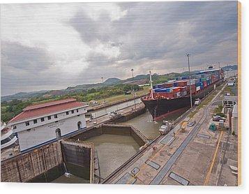 Panama Canal Miraflores Locks Wood Print by Marek Poplawski
