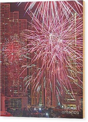 Panama Fireworks Wood Print by Bob Hislop