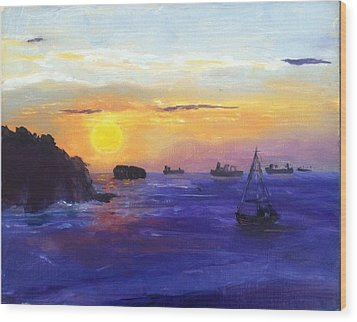 Wood Print featuring the painting Panama Sunrise by MaryAnne Ardito