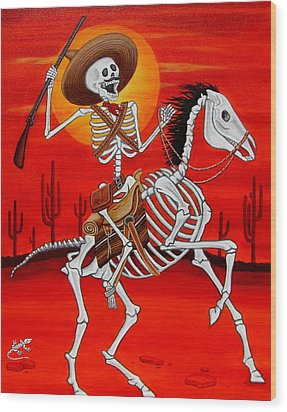 Wood Print featuring the painting Pancho Villa by Evangelina Portillo