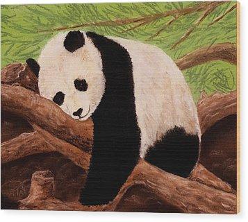 Panda Wood Print by Anastasiya Malakhova