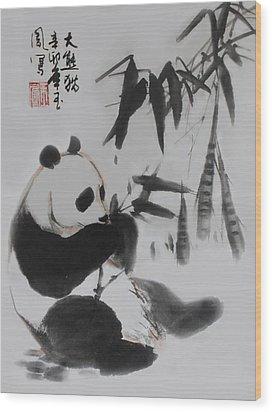 Panda And Bamboo Wood Print