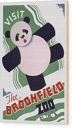 Panda At Brookside Wood Print by American Classic Art