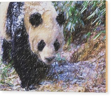 Wood Print featuring the painting Panda Bear Walking In Forest by Lanjee Chee