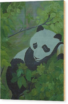 Wood Print featuring the painting Panda by Christy Saunders Church