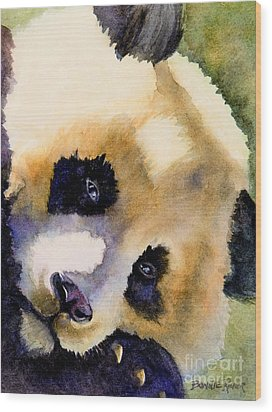 Wood Print featuring the painting Panda Cub by Bonnie Rinier