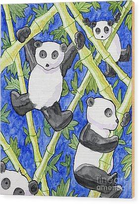 Panda Cubs Wood Print