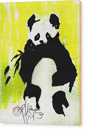 Panda Haiku Wood Print by P J Lewis