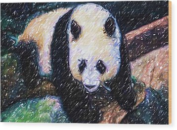 Wood Print featuring the painting Panda In The Rest by Lanjee Chee
