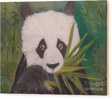 Wood Print featuring the painting Panda by Jenny Lee