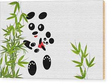 Panda Mom With A Baby Wood Print by Ausra Huntington nee Paulauskaite