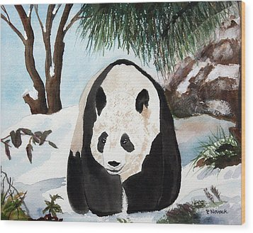 Panda On Ice Wood Print by Patricia Novack