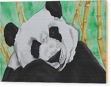 Panda Wood Print by Patricia Olson