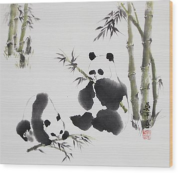 Panda  Wood Print by Ping Yan