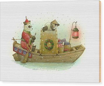 Pandabears Christmas Wood Print by Kestutis Kasparavicius