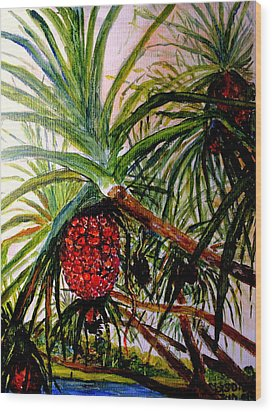 Wood Print featuring the painting Pandanus Palm Fruit  by Jason Sentuf