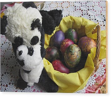Pandas Celebrating Easter Wood Print by Ausra Huntington nee Paulauskaite