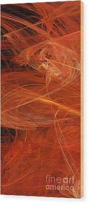 Panel 1 Of 5 Dancing Flames 2 H Pentaptych - Abstract - Fractal Art Wood Print by Andee Design