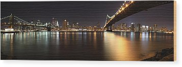Pano Manhattan Large Wood Print by Paslier Morgan