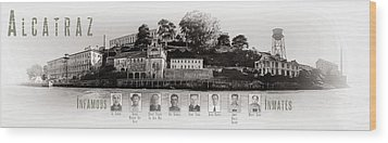 Panorama Alcatraz Infamous Inmates Black And White Wood Print by Scott Campbell