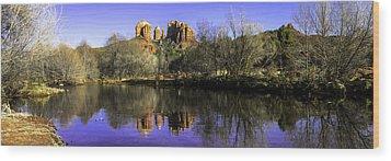 Panorama At Red Rocks Crossing In Sedona Az Wood Print by Teri Virbickis