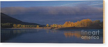 Wood Print featuring the photograph Panorama Clearing Storm Oxbow Bend Grand Tetons National Park Wyoming by Dave Welling