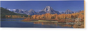 Wood Print featuring the photograph Panorama Fall Morning Oxbow Bend Grand Tetons National Park Wyoming by Dave Welling