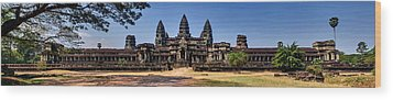 Wood Print featuring the photograph Panorama - Hi-res - National Heritage In Angkor Wat Cambodia by Afrison Ma